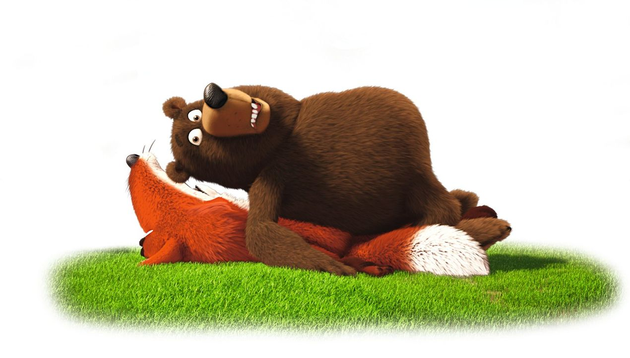 Freund oder Feind? Haben es der Fuchs (unten) und der Bär (oben) auf den Keinohrhasen und das Zweiohrküken abgesehen oder nicht? - Bildquelle: Warner Brothers