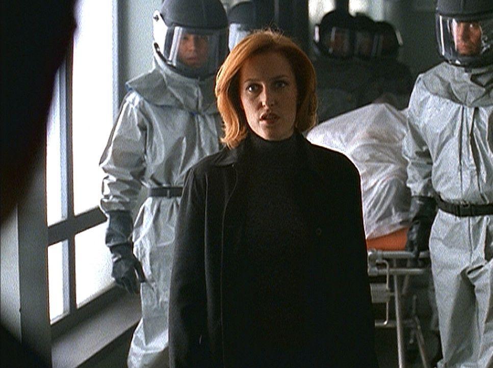 Scully (Gillian Anderson) sorgt dafür, dass die drei in der Bostoner U-Bahn gefundenen Leichen von der Seuchenaufsichtsbehörde untersucht werden. - Bildquelle: TM +   2000 Twentieth Century Fox Film Corporation. All Rights Reserved.