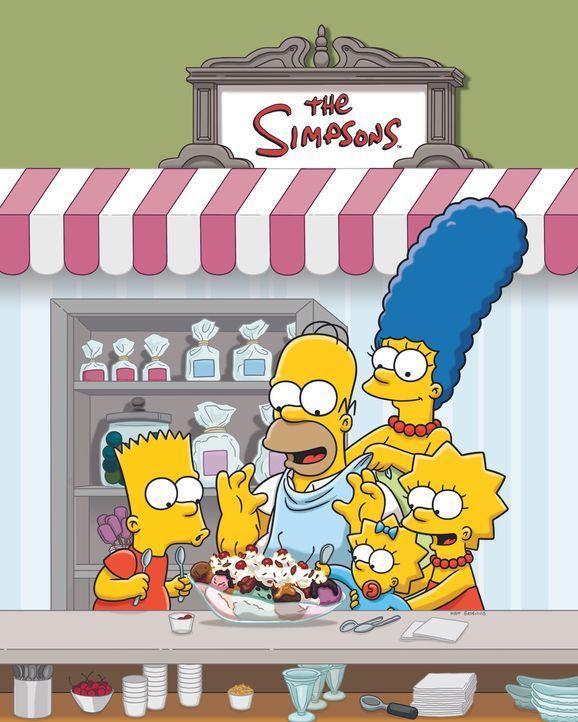 (27. Staffel) - Eine nicht alltägliche Familie: Marge (2.v.r.), Maggie (M.), Bart (l.), Lisa (r.) und Homer Simpson (2.v.l.) ... - Bildquelle: 2015 Fox and its related entities.  All rights reserved.