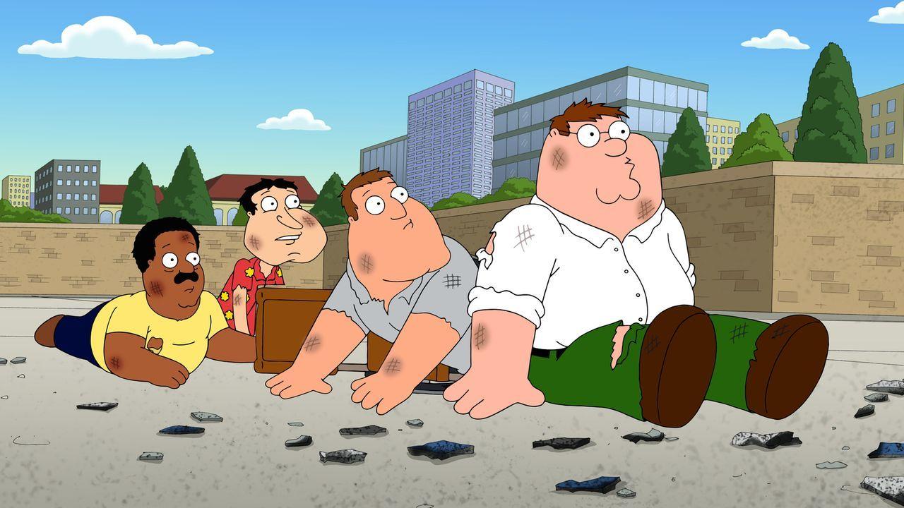 Machen sich auf eine ganz besondere Suche: Peter (r.), Quagmire (2.v.l.), Joe (2.v.r.) und Cleveland (l.) ... - Bildquelle: 2014 Twentieth Century Fox Film Corporation. All rights reserved.