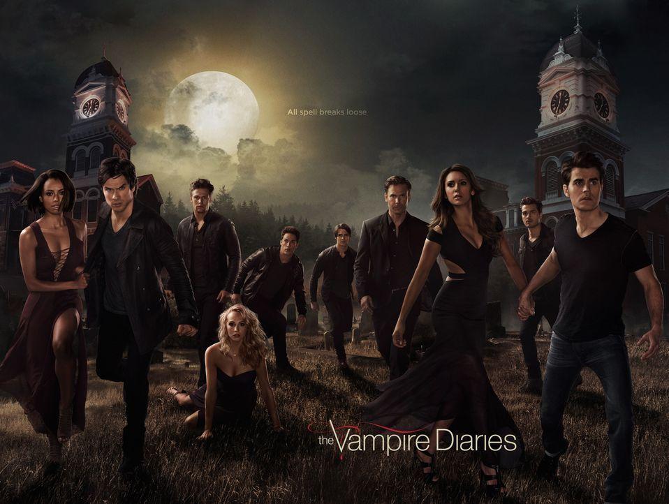 (6. Staffel) - Eine schwere Zeit steht ihnen bevor und alle gehen andere Wege, um ihr Schicksal zu verarbeiten: Bonnie (Kat Graham, l.), Damon (Ian... - Bildquelle: Warner Bros. Entertainment, Inc.