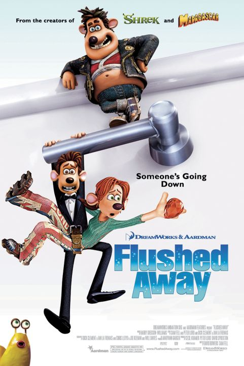 FLUTSCH UND WEG - Plakatmotiv - Bildquelle: DREAMWORKS ANIMATION LLC AND AARDMAN ANIMATIONS LTD. FLUSHED AWAY TM DREAMWORKS ANIMATION LLC. ALL RIGHTS RESERVED.