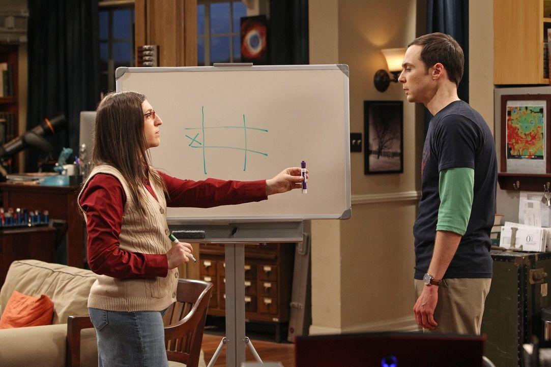 Sheldon (Jim Parsons, r.) fühlt sich verloren, nachdem eine seiner Lieblingsserien zu früh abgesetzt wird. Amy (Mayim Bialik, l.) versucht daraufhin... - Bildquelle: Warner Bros. Television