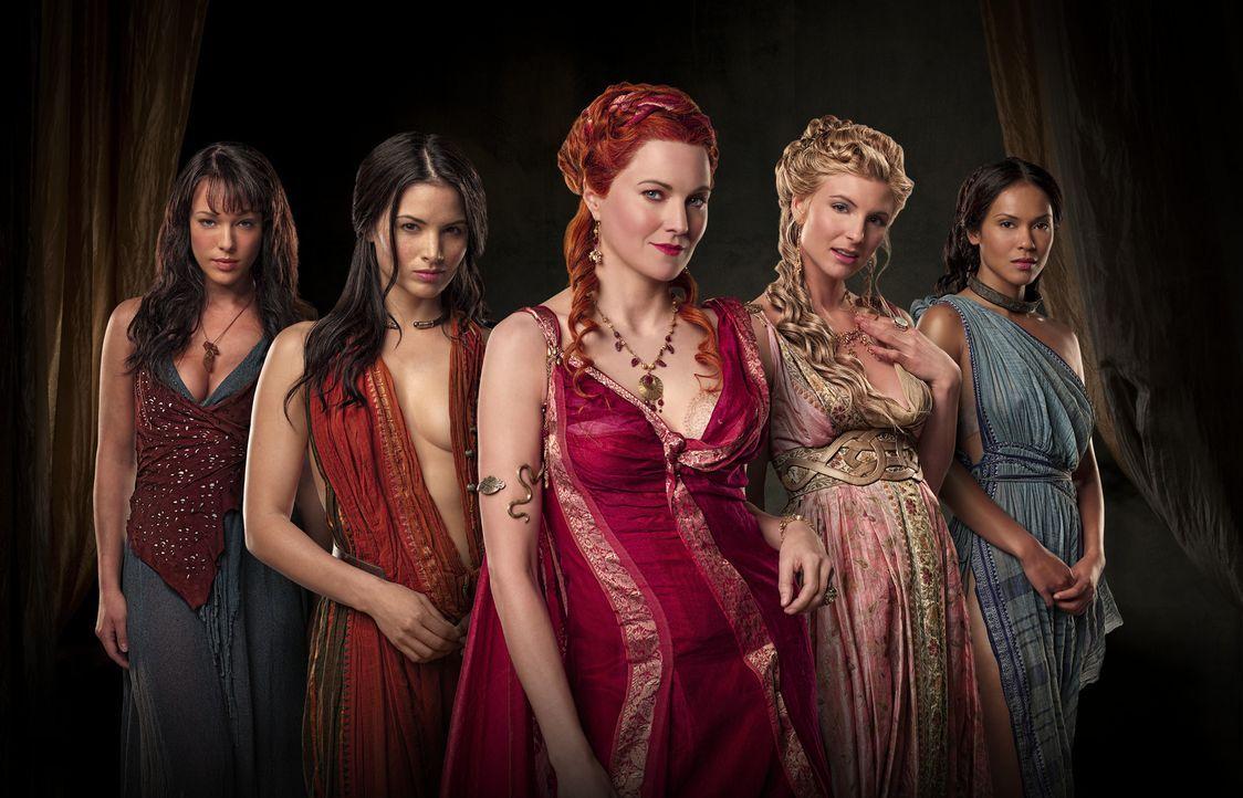 Widersacherinnen: Sura (Erin Cummings), Mira (Katrina Law), Lucretia (Lucy Lawless), Ilithyia (Viva Bianca) und Naevia (Lesley Ann Brandt) ... - Bildquelle: 2009 Starz Entertainment, LLC