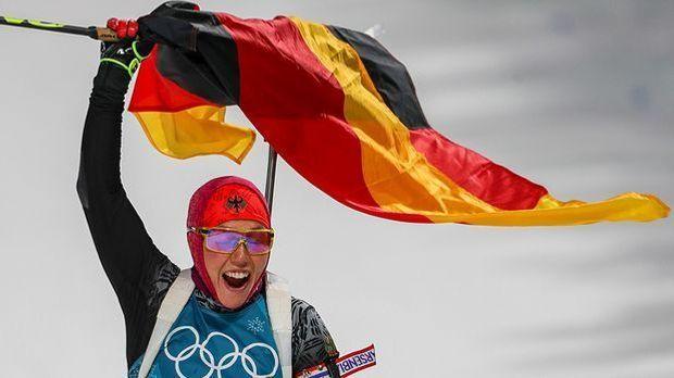 Laura Dahlmeier feiert ihr zweites Olympia-Gold