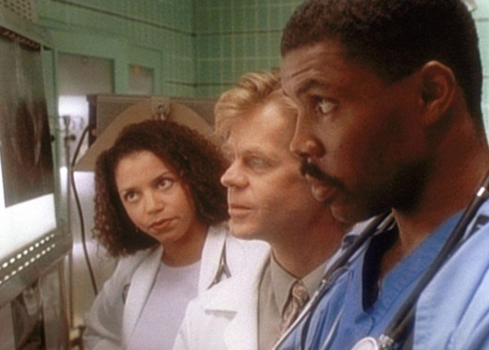Arzthelferin Jeanie (Gloria Reuben, l.) wagt es, Dr. Benton (Eric LaSalle, r.) vor dem Chefarzt Dr. Morgenstein (William H. Macy, M.) zu widersprech... - Bildquelle: TM+  WARNER BROS.