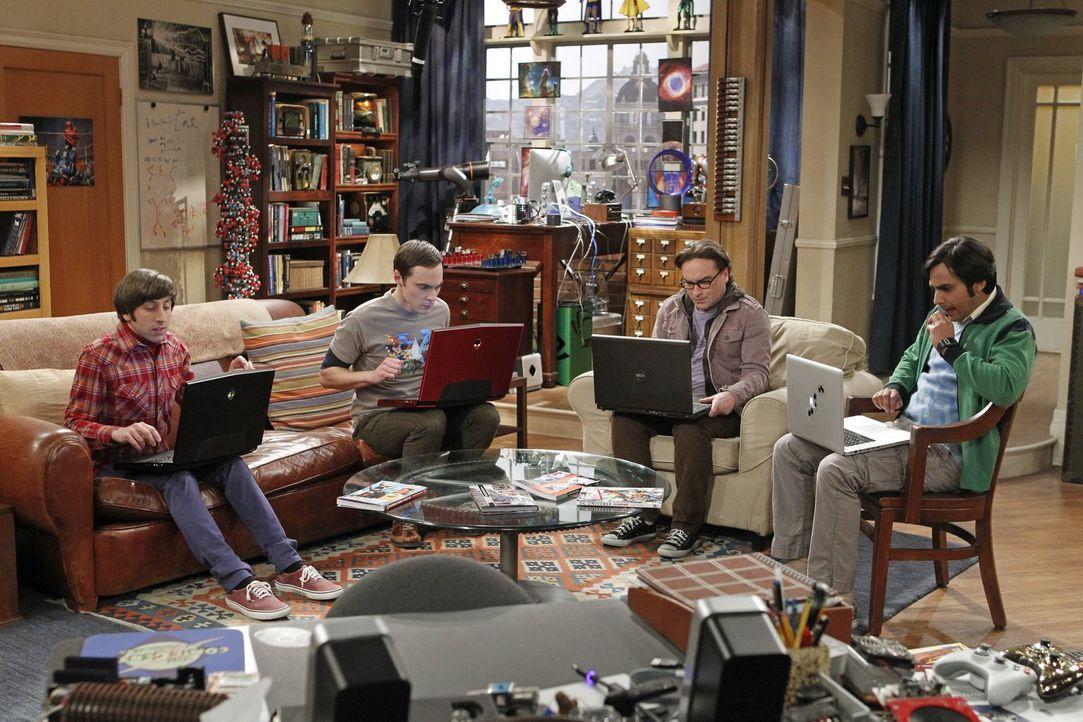 Können nicht fassen, dass sie keine Tickets für die Comic Con bekommen haben: Sheldon (Jim Parsons, 2.v.l.), Leonard (Johnny Galecki, 2.v.r.), Raj (... - Bildquelle: Warner Brothers