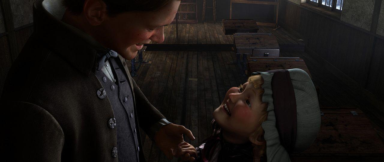 Mit dem Geist der vergangenen Weihnacht geht selbstsüchtige und eigensinnige Ebenezer Scrooge (Jim Carrey, l.) auf eine unvergessliche reise auf de... - Bildquelle: Walt Disney Pictures/Imagemovers Digital, LLC.