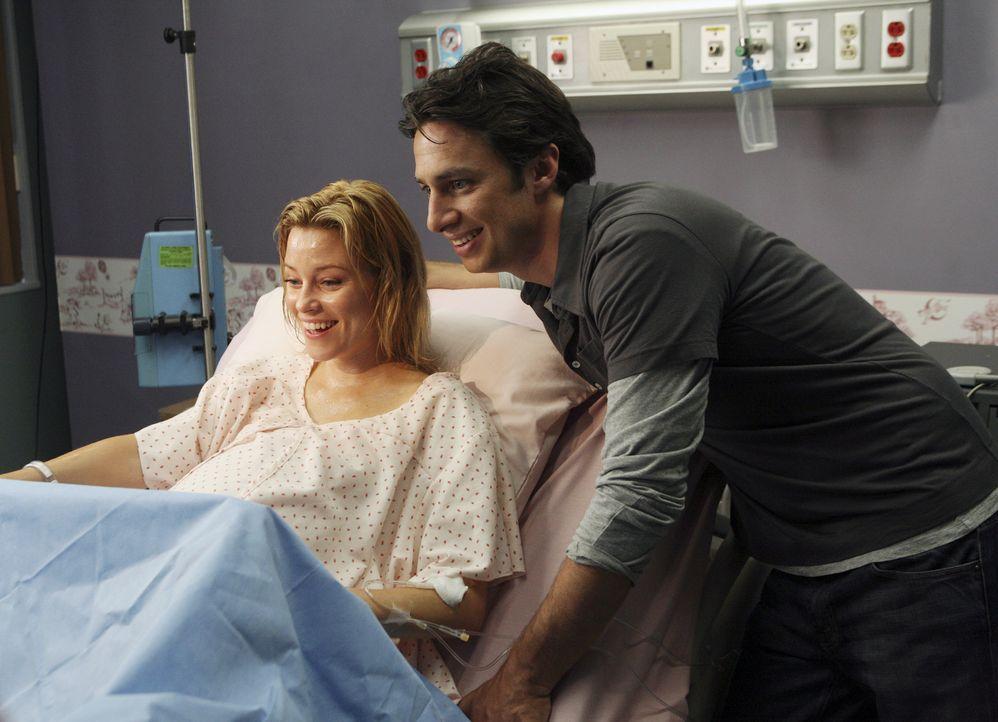 Sie haben sich für das Kind entschieden und gleich ist es soweit: J.D. (Zach Braff, r.) und Kim (Elizabeth Banks, l.) warten auf die Geburt ihres So... - Bildquelle: Touchstone Television