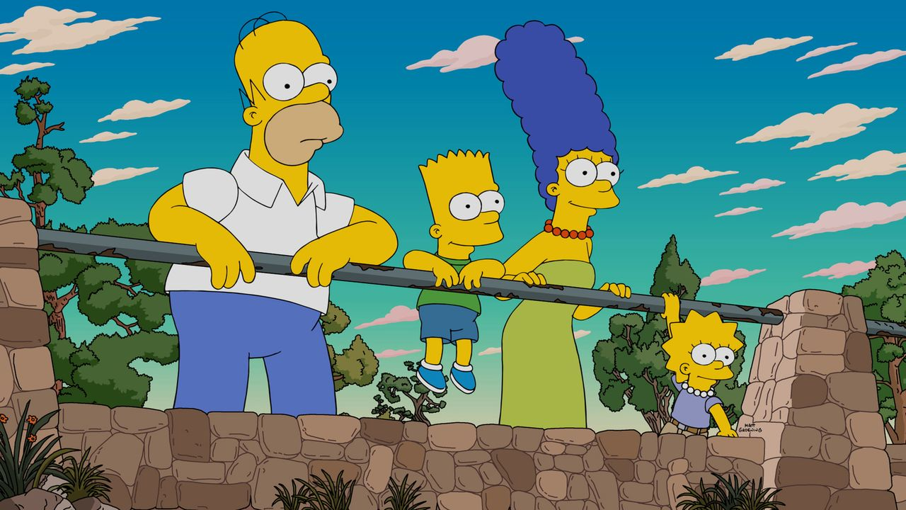 Als Ned Flanders einen Ausflug in den Grand Canyon für zwei Familien gewinnt, dürfen Homer (l.), Bart (2.v.l.), Marge (2.v.r.) und Lisa (r.) mit. Do... - Bildquelle: 2015 Fox and its related entities.  All rights reserved.