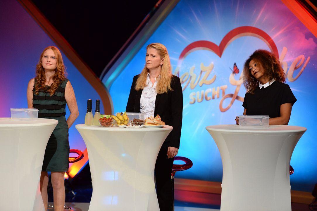 Wer kann überzeugen? (v.l.n.r.) Nicole R., Nicole S., Eleonora ... - Bildquelle: Willi Weber SAT.1 Gold