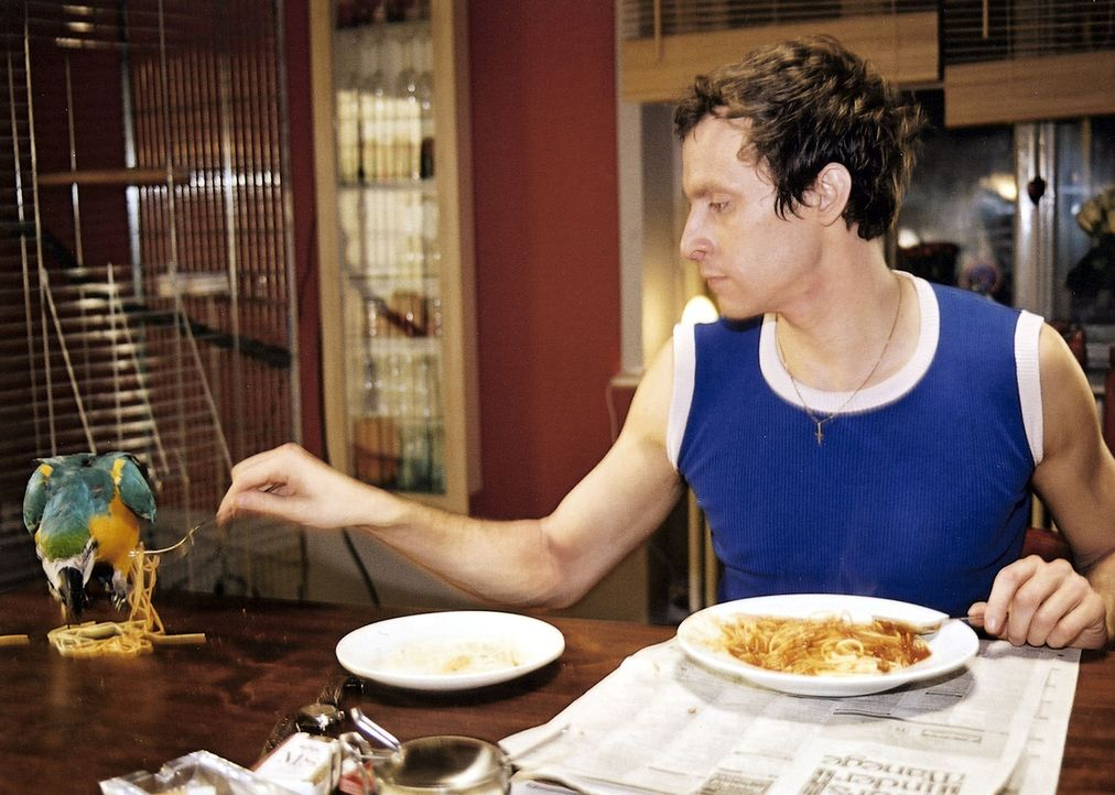Carlo (Marc Hosemann) ignoriert das ausdrückliche Verbot von Mala und versorgt Anatol mit leckeren Spaghetti ... - Bildquelle: Sat.1