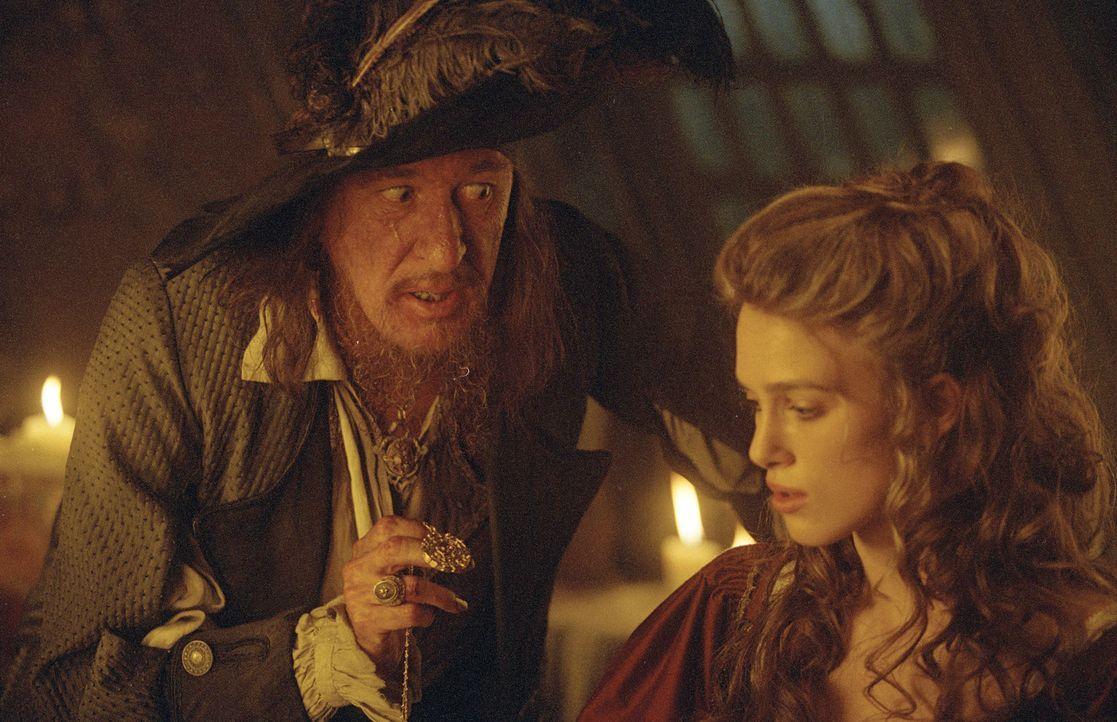 Der Raub eines verfluchten Azteken-Schatzes zwingt den berüchtigten Captain Barbossa (Geoffrey Rush, l.), als Untoter auf den Meeren zu rauben und z... - Bildquelle: Disney/ Jerry Bruckheimer