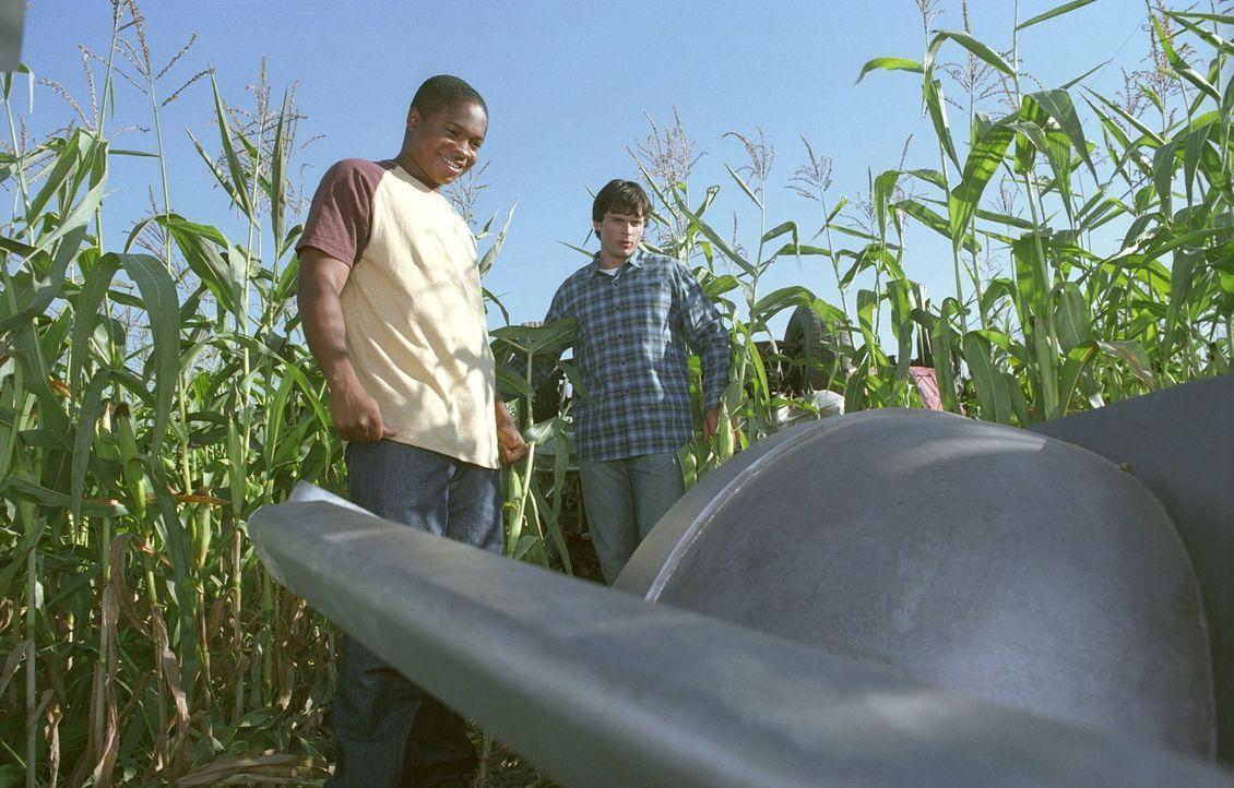 Nachdem Pete (Sam Jones III., l.) nach einem Autounfall mit seinem Fahrzeug in einem Maisfeld landet, traut er seinen Augen nicht, als er plötzlich... - Bildquelle: Warner Bros.