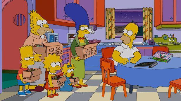 Die Simpsons - Als Marge (2.v.r.), Maggie (3.v.r.), Lisa (M.) und Bart (l.) G...