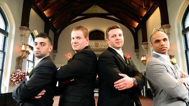 Wer wird die traumhafte Hochzeitsreise gewinnen: Rick (l.), David (2.v.l.), J...