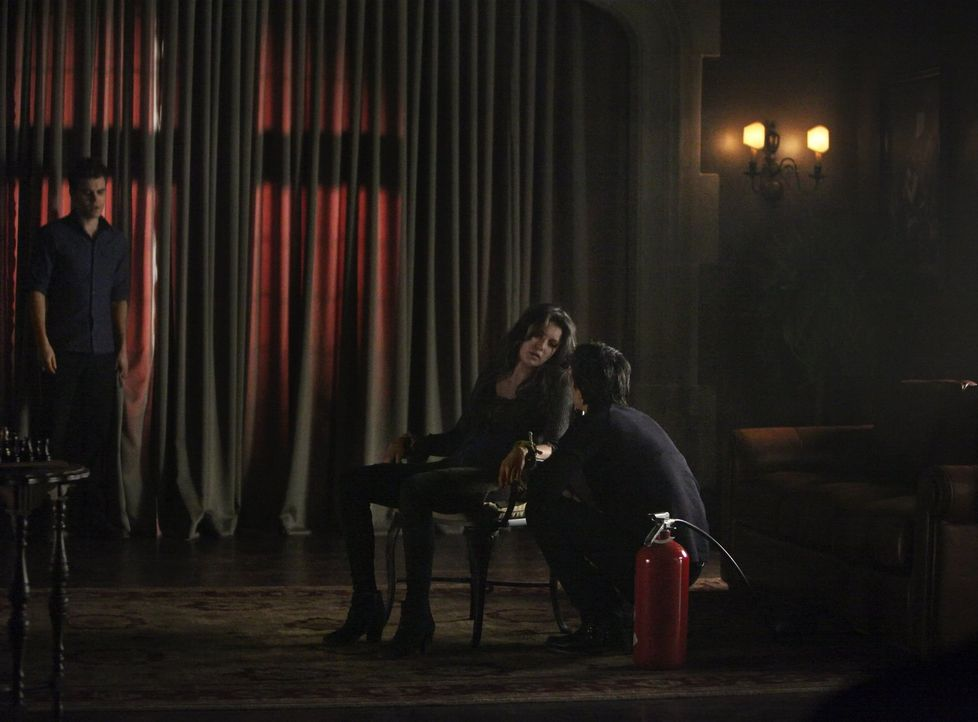 Stefan (Paul Wesley, l.) und Damon (Ian Somerhalder, r.) wollen mit allen Mitteln den eiskalten Vampir aus der sonst so emotionalen Elena (Nina Dobr... - Bildquelle: Warner Brothers
