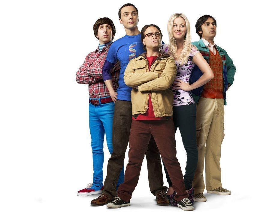 (7. Staffel) - Ganz besonderer Freunde: Howard (Simon Helberg, l.), Sheldon (Jim Parsons, 2.v.l.), Leonard (Johnny Galecki, M.), Penny (Kaley Cuoco,... - Bildquelle: Warner Bros. Television