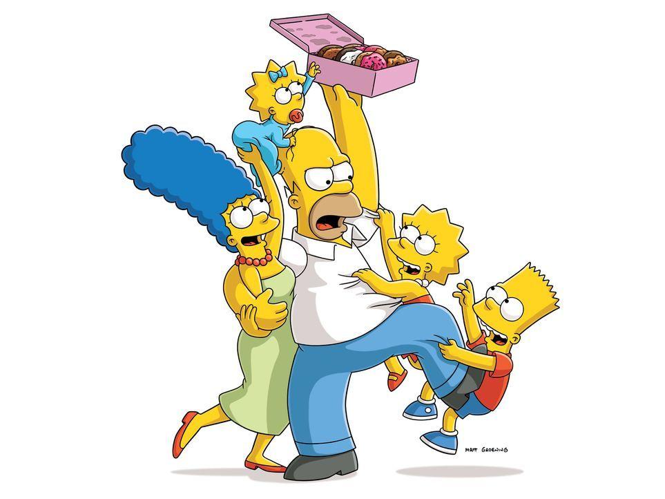(27. Staffel) - Eine ungewöhnliche Familie: Maggie (2.v.l.), Marge (l.), Homer (M.), Bart (r.) und Lisa Simpson (2.v.r.) ... - Bildquelle: 2015 Fox and its related entities.  All rights reserved.