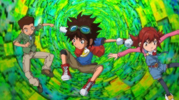 Digimon Fusion - Die perfekte Clique: Jeremy Tsurgi (l.), Mikey Kudo (M.) und...