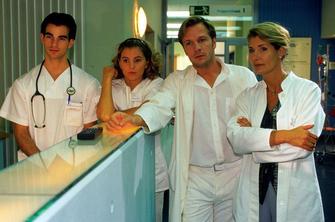 V.li.n.re.: Felix (Samer Nassif), Rosa (Luise Bär), Dr. Schnabel (Dirk Mirau) und Dr. Winkler (Christine Mayn) sehen sich die Live-Übertragung der Hochzeit von Jan und Janina im Fernsehen an.