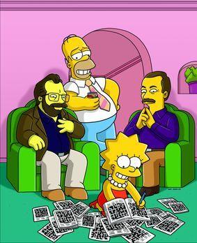 Die Simpsons - Mit Hilfe von Rätselbauer Merl Reagle (l.) und dem Herausgeber...