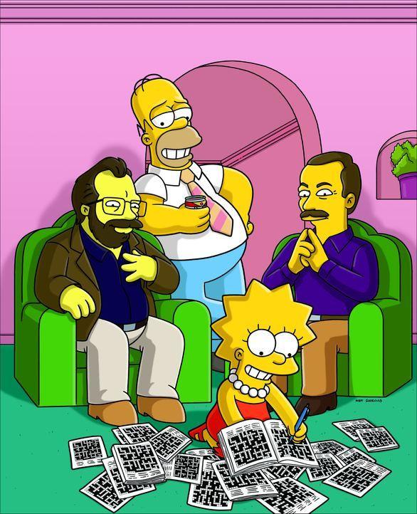Mit Hilfe von Rätselbauer Merl Reagle (l.) und dem Herausgeber der New York Times-Kreuzworträtsel, Will Shortz (r.), hat Homer (2.v.l.) eine verst... - Bildquelle: und TM Twentieth Century Fox Film Corporation - Alle Rechte vorbehalten