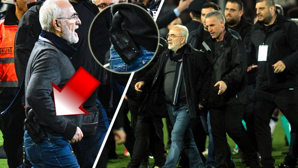 PAOK-Präsident Ivan Savvidis stürmt mit Waffe auf den Platz. - Bildquelle: imago