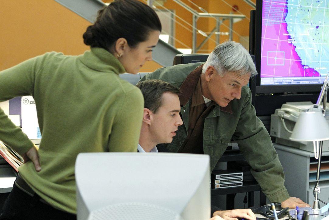 Auch die Weihnachtszeit bedeutet Arbeit für das NCIS-Team. Ziva (Cote de Pablo, l.), McGee (Sean Murray, M.) und Gibbs (Mark Harmon, r.) scheinen ei... - Bildquelle: CBS Television