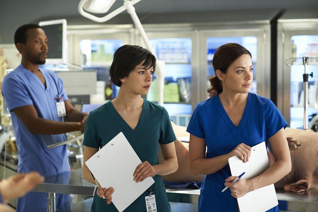 Auf eine lebensrettende OP müssen sich Alex (Erica Durance, r.) und Maggie (Julia Taylor Ross, l.) ganz besonders vorbereiten ... - Bildquelle: 2013  Hope Zee Two Inc.