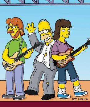 Die Simpsons - Im Drogenrausch platzt Homer (M.) mitten in den Auftritt der R...
