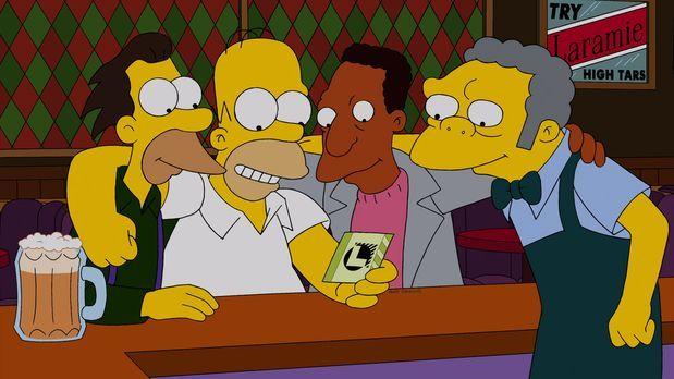 Die Simpsons - 200.000 Dollar! Homer (2.v.l.), Moe (r.), Carl (2.v.r.) und Le...