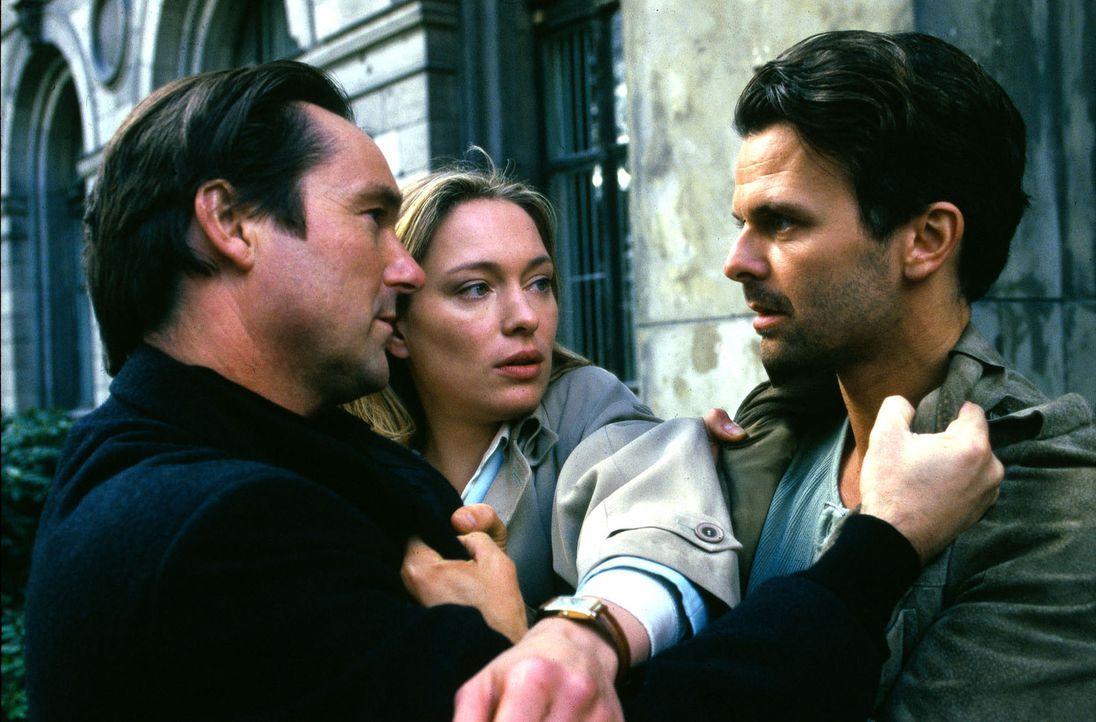 Ihr neuer Nachbar Nick Adams (Helmut Zierl, l.) steht Sarah (Katja Weitzenböck, M.) bei der gewalttätigen Attacke ihres Ehemanns Thomas (Zsolt Bács,... - Bildquelle: Sat.1