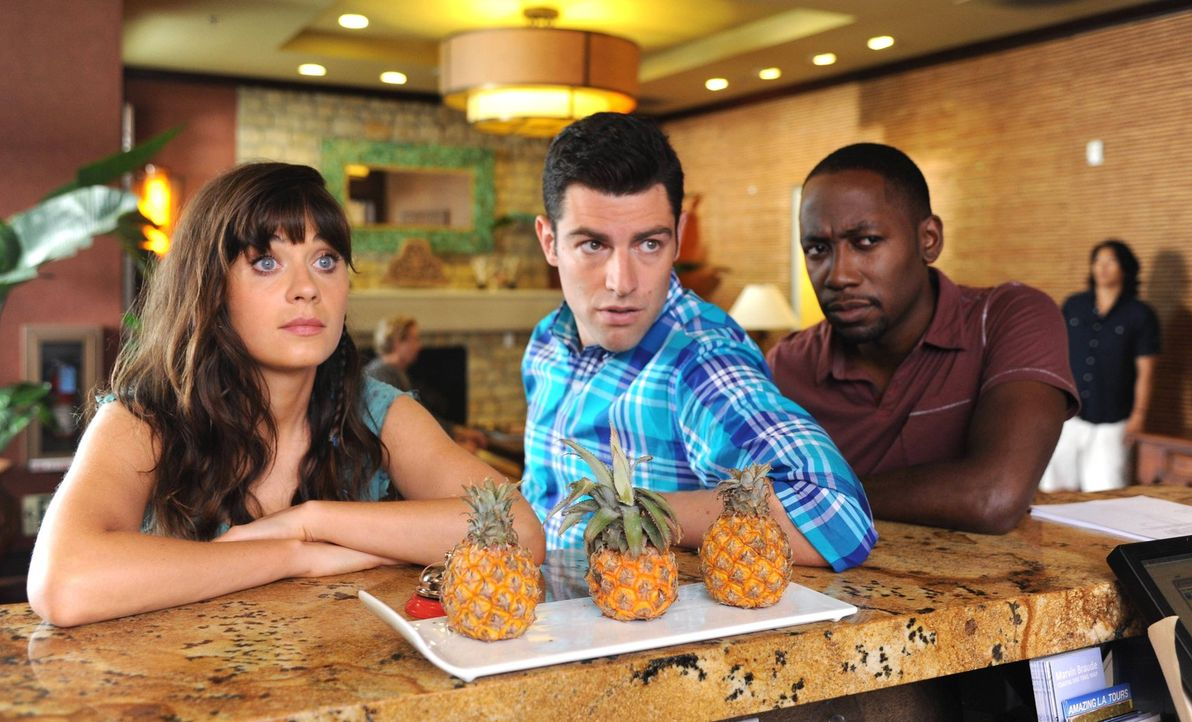 Als Nick in Mexiko verhaftet wird, reist Jess (Zooey Deschanel, l.) zurück, um Schmidt (Max Greenfield, M.) und Winston (Lamorne Morris, r.) um Hilf... - Bildquelle: TM &   2013 Fox and its related entities. All rights reserved.