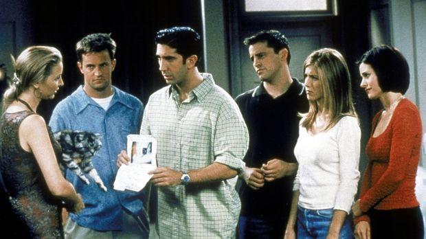 Nur zusammen finden Chandler (Matthew Perry, 2.v.l.), Ross (David Schwimmer,...