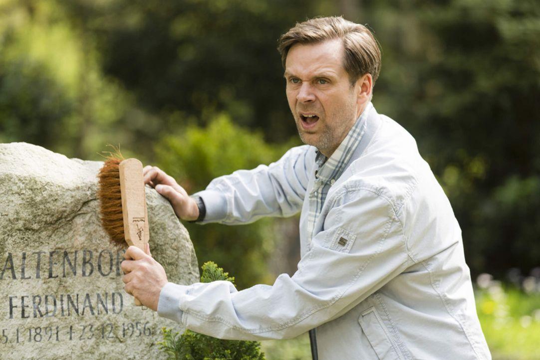 Er gibt sein Bestes bei der Pflege von Onkel Ferdis Grabstein, doch Hagen (Matthias Matschke) kann es Volker einfach nicht recht machen ... - Bildquelle: Frank Dicks SAT.1
