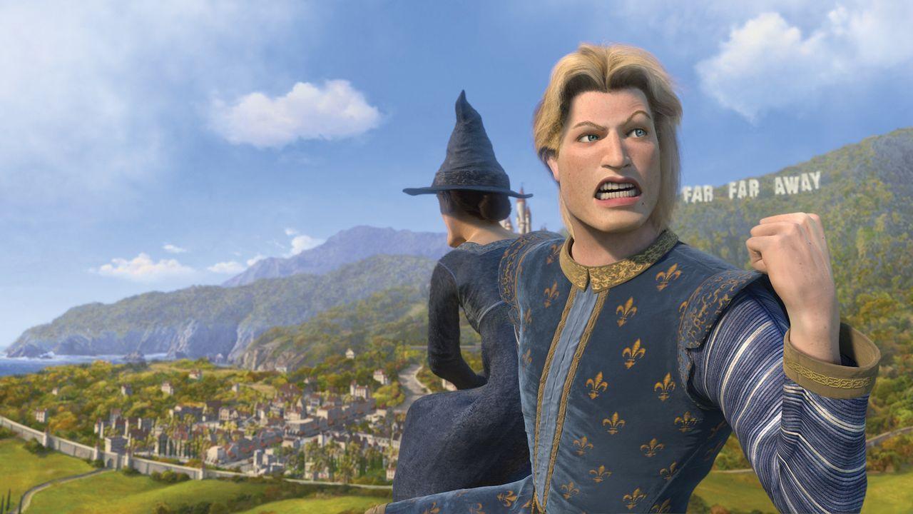 Während Shreks Abwesenheit geht es am Königshofe drunter und drüber: Prinz Charming versucht mal wieder mit List und Tücke, den Thron an sich zu rei... - Bildquelle: TM &   2007 Dreamworks Animation LLC