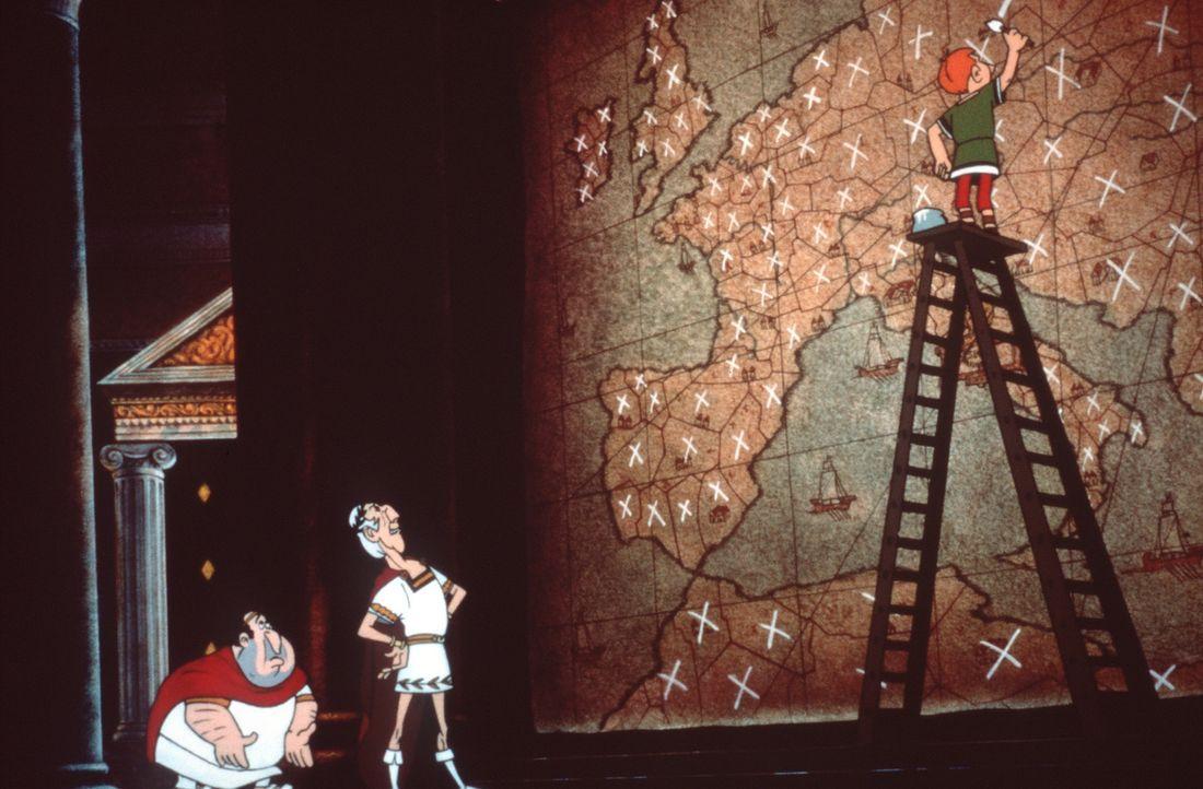 Während der Feierlichkeiten zu Cäsars (M.) Geburtstag entführt ein übereifriger Legionär die Verlobten Falbala und Tragicomix. Asterix und Obelix fo... - Bildquelle: Jugendfilm-Verleih GmbH