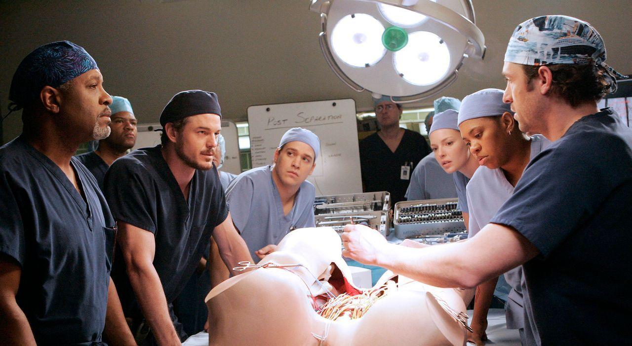 Die Ärzte proben die Operation an Jake und Pete, wobei sich Derek (Patrick Dempsey, r.) und Mark (Eric Dane, 3.v.l.) wieder einmal in die Haare beko... - Bildquelle: Touchstone Television