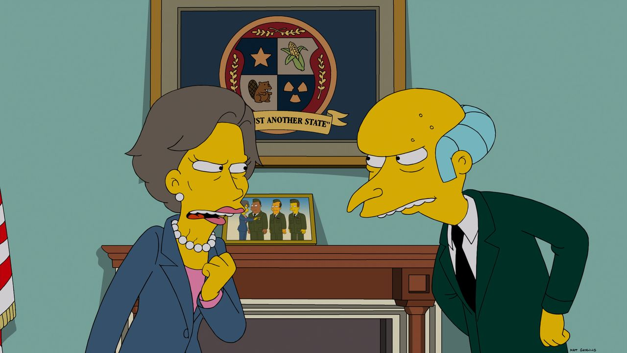 Gegenteile ziehen sich an, das müssen auch Maxine (l.) und Mr. Burns (r.) lernen ... - Bildquelle: 2014 Twentieth Century Fox Film Corporation. All rights reserved.