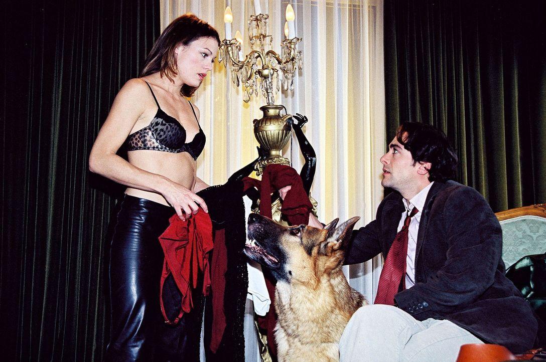 Marc Hoffmann (Alexander Pschill, r.) und Rex schauen vielleicht etwas zu interessiert, als sich Niki Herzog (Elke Winkens, l.) auf ihren Undercover... - Bildquelle: Sat.1
