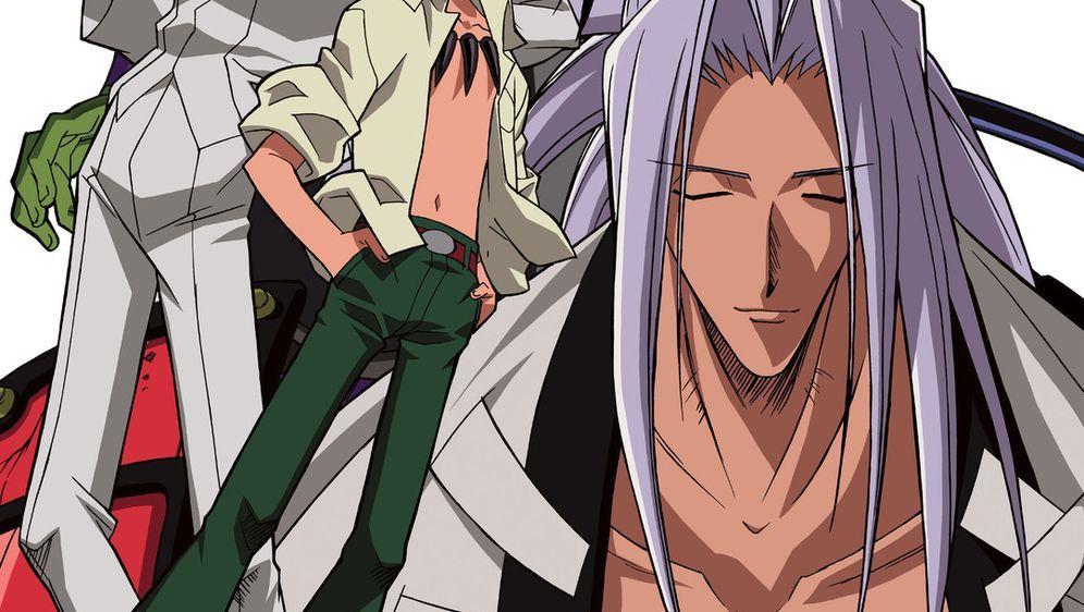 Shaman King: Bokutou no Ryu (l.), Yoh (M.) und Amidamaru (r.) ... - Bildquelle: Hiroyuki Takei. All rights reserved