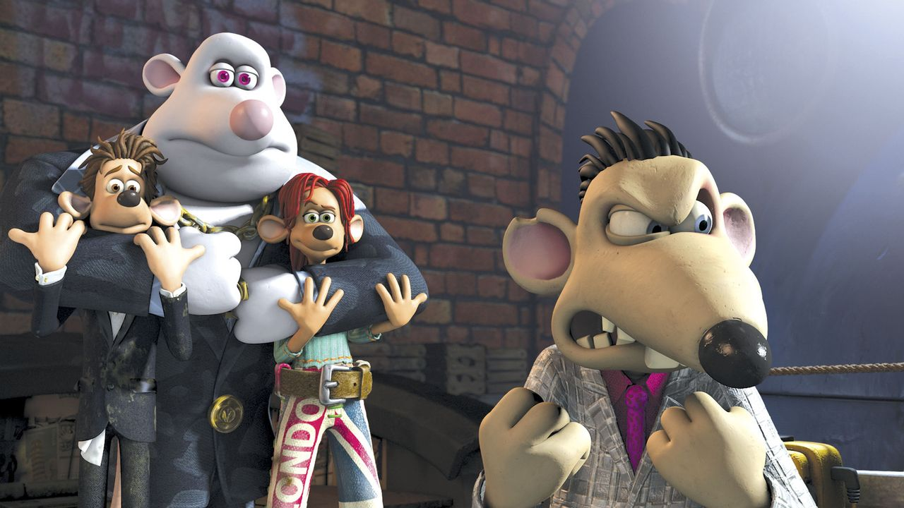 In der Kanalisation geraten Rita (2.v.r.) und Roddy (l.) in die Hände der fiesen Killermäuse Spike (r.) und Whitey (2.v.l.) ... - Bildquelle: DREAMWORKS ANIMATION LLC AND AARDMAN ANIMATIONS LTD. FLUSHED AWAY TM DREAMWORKS ANIMATION LLC. ALL RIGHTS RESERVED.