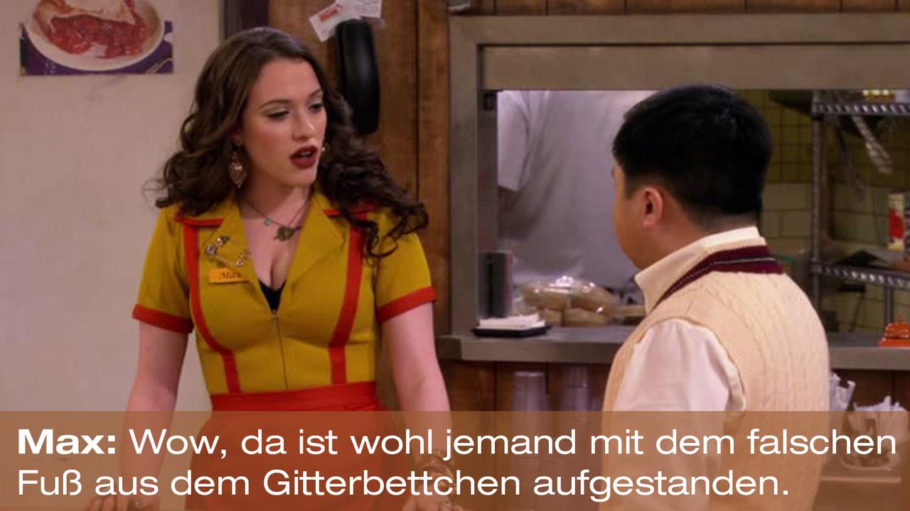 2-Broke-Girls-Zitat-Quote-Staffel2-Episode20-Das-Loch-in-der-Decke-Max-Gitterbettchen-Warner - Bildquelle: Warner Bros. Television