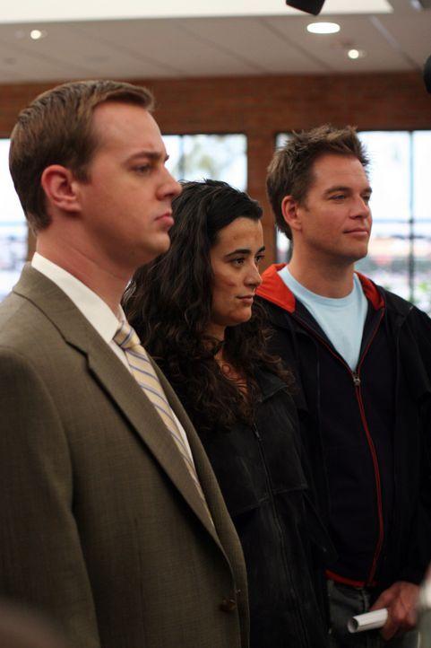 Gemeinsam arbeiten McGee (Sean Murray, l.), Ziva (Cote de Pablo, M.) und Tony (Michael Weatherly, r.) an einem äußerst verzwickten Fall ... - Bildquelle: TM &   2006 CBS Studios Inc. All Rights Reserved.