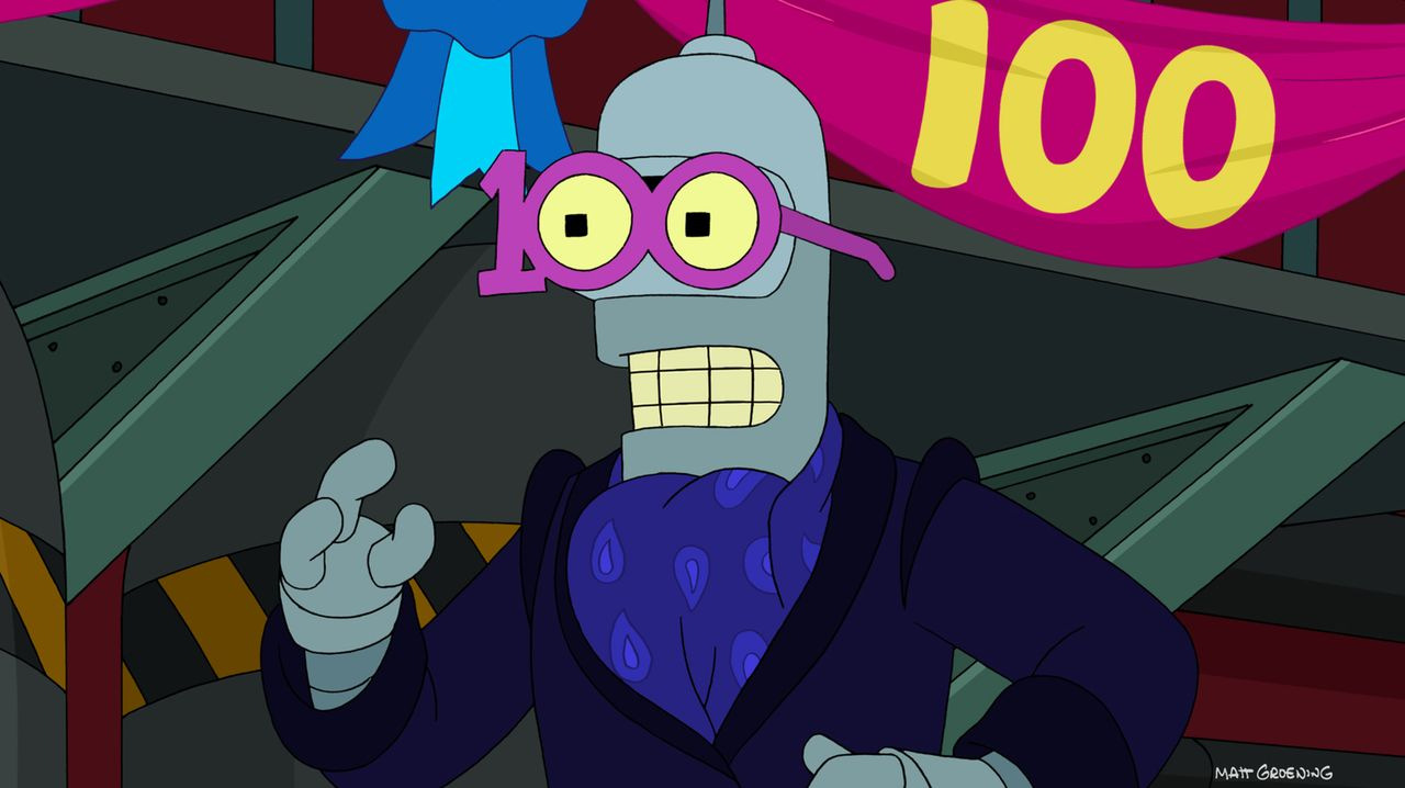 """Die """"Planet Express""""-Crew wird für ihre hundertste Lieferung engagiert. Ein Grund zum Feiern, findet Bender ... - Bildquelle: 2003 Twentieth Century Fox Film Corporation. All rights reserved."""