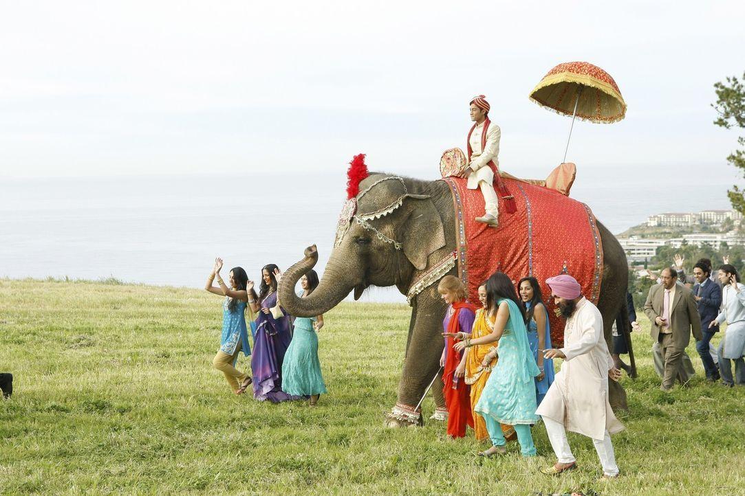 Bräutigam Raj (Manish Dayal, M.) wird auf einem Elefanten zur Hochzeit geführt und genießt es, im Mittelpunkt zu stehen ... - Bildquelle: TM &   2011 CBS Studios Inc. All Rights Reserved.