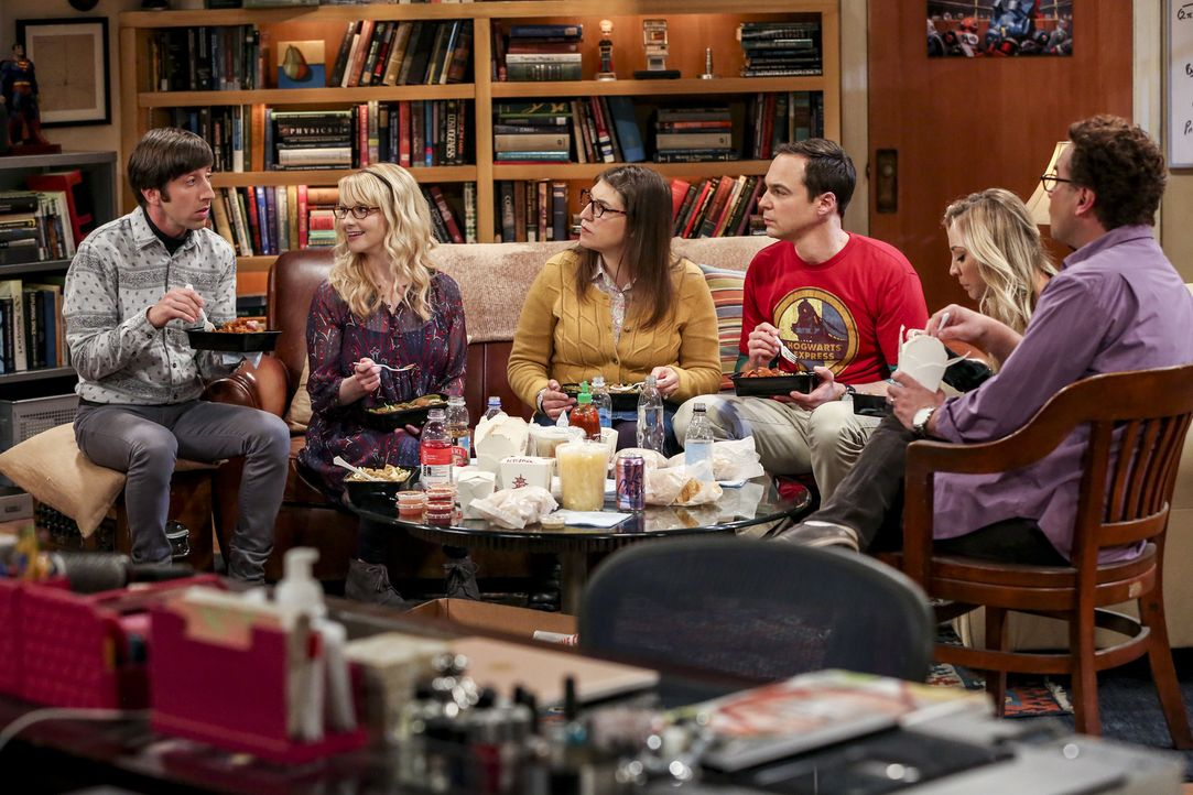 (v.l.n.r.) Howard (Simon Helberg); Bernadette (Melissa Rauch); Amy (Mayim Bialik); Sheldon (Jim Parsons); Penny (Kaley Cuoco); Leonard (Johnny Galec... - Bildquelle: Warner Bros. Television