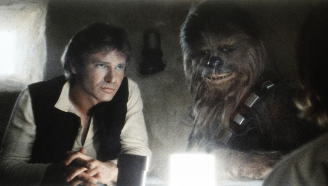 """Han Solo (Harrison Ford, l.) und Chewbacca (Peter Mayhew , r.) sollen Obi-Wan Kenobi und Luke Skywalker mit ihrem Raumschiff """"Rassender Falke"""" zu de... - Bildquelle: Lucasfilm LTD. & TM. All Rights Reserved."""