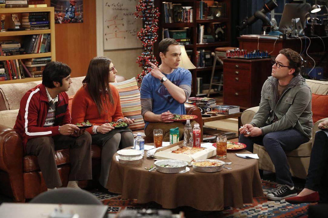Penny und Sheldon (Jim Parsons, 2.v.r.) wollen an einem ganz besonderen Experiment teilnehmen, worüber Leonard (Johnny Galecki, 2.r.), Amy (Mayim Bi... - Bildquelle: Warner Bros. Television